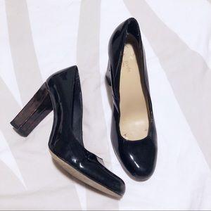 Kate Spade black leather w/ leopard print heels!